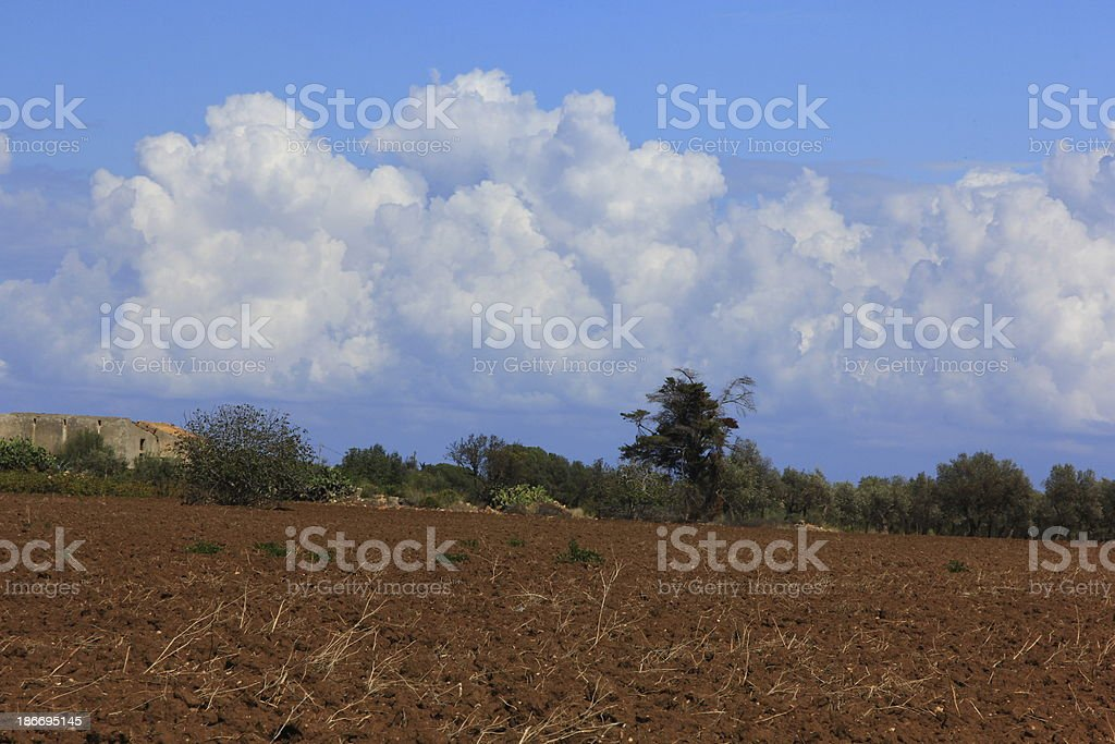 Land and clouds background royalty-free stock photo