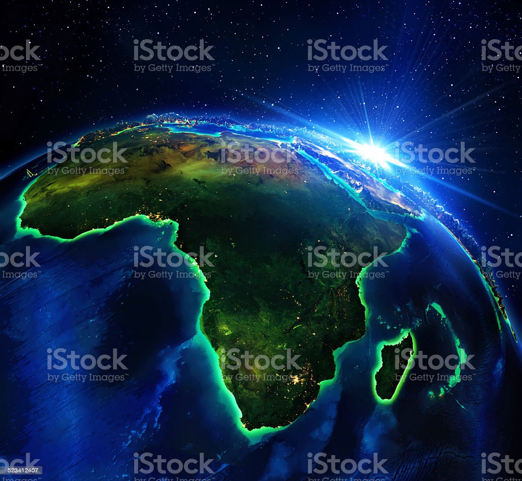 land area in Africa, the night stock photo