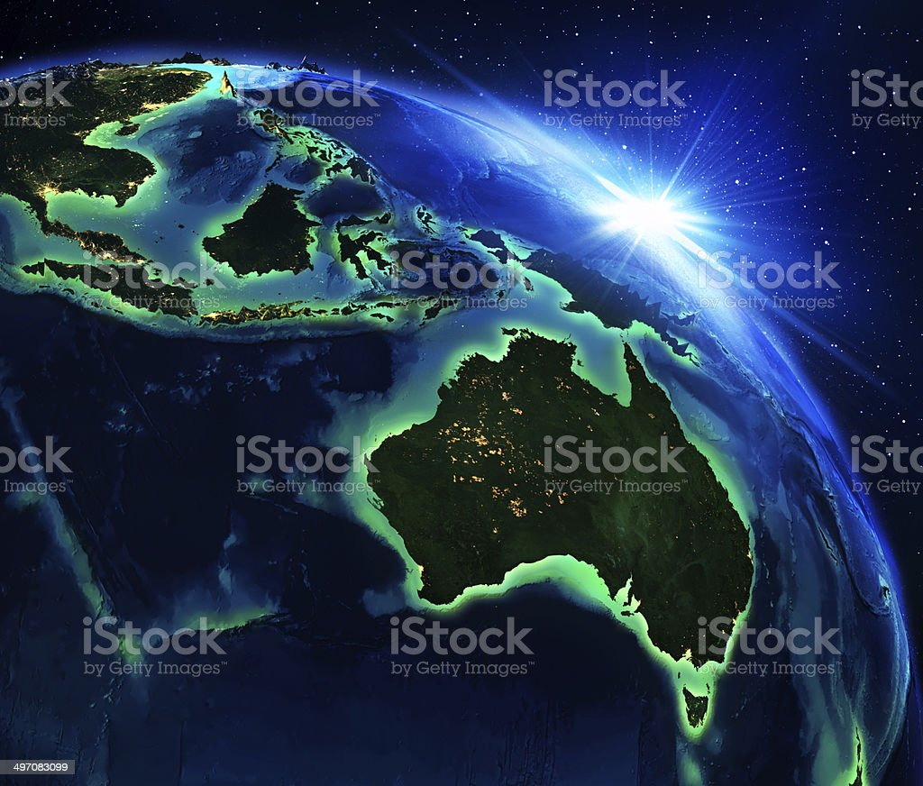 land area in Australia, and Indonesia the night stock photo