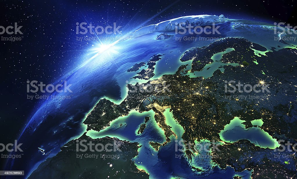 land area in Europe the night stock photo