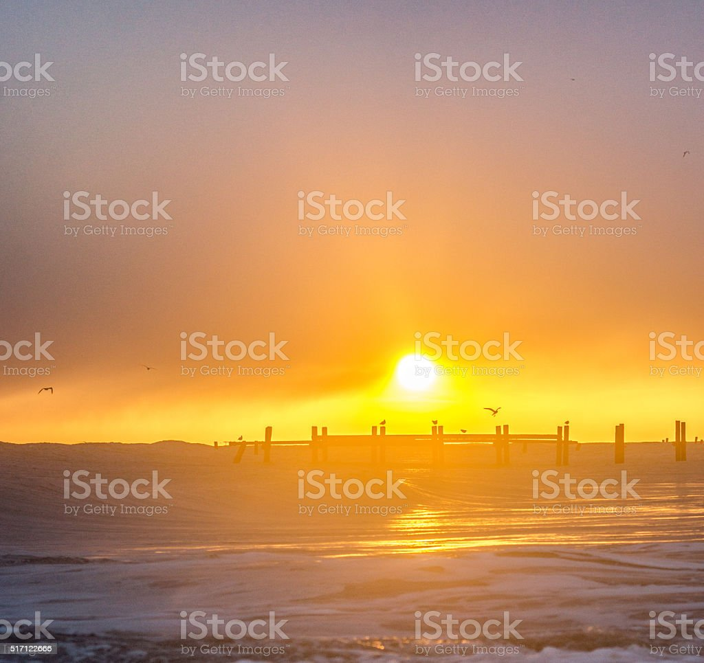 Land at Sunrise stock photo