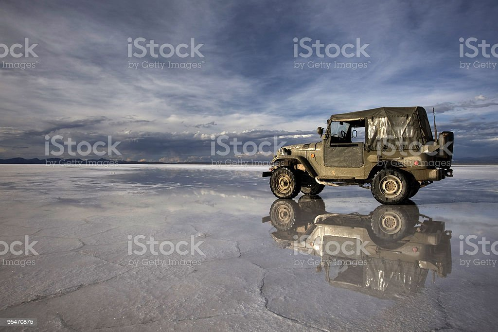 Land Cruiser in Uyuni, Bol?via stock photo