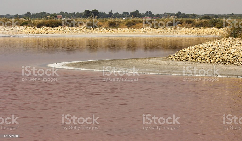 Land details that seems a spaceship in Aigues-mortes salt basin royalty-free stock photo