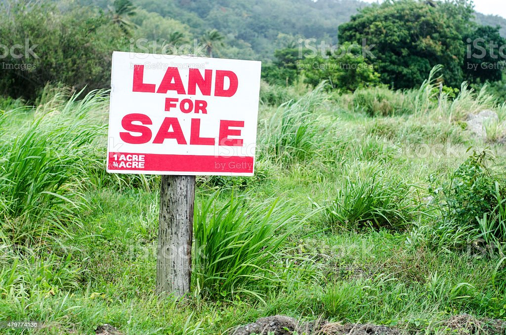 land for sale sign in grassy lot stock photo