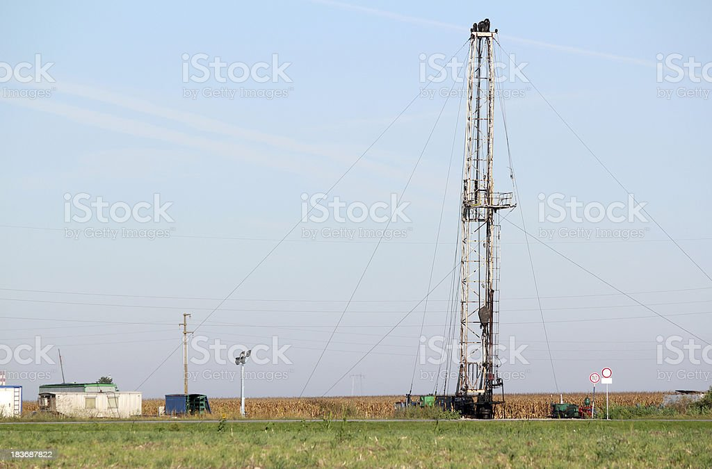 land oil drilling rig on oilfield royalty-free stock photo