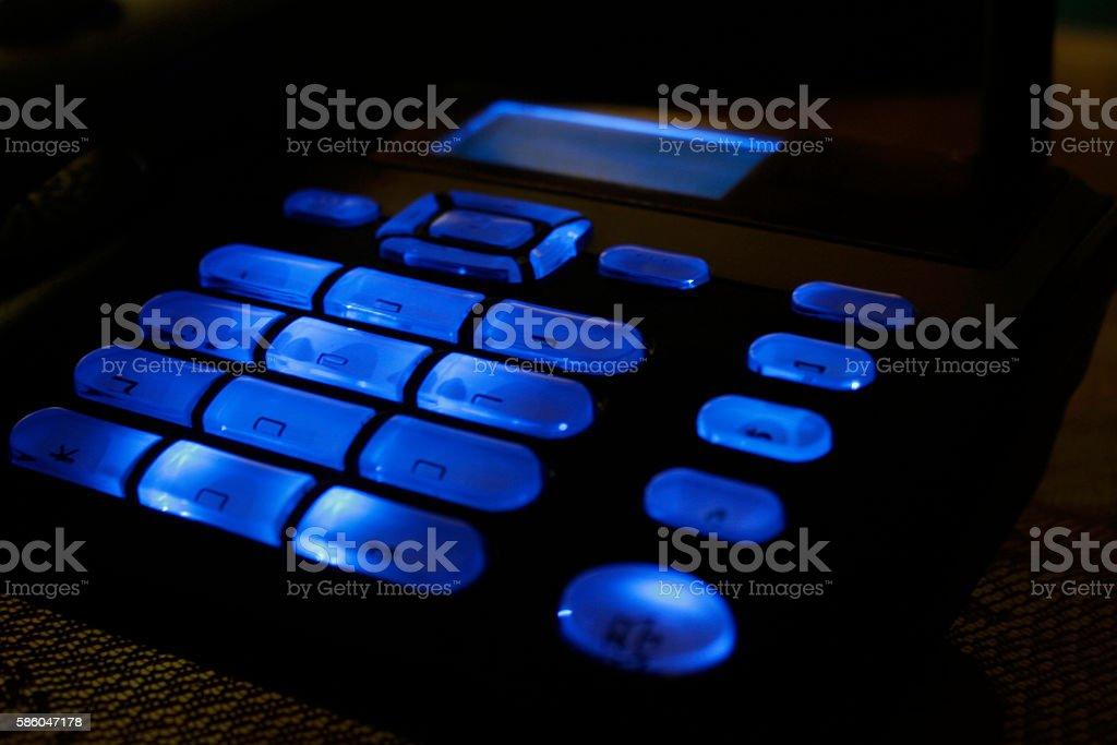 CDMA land phone with blue light -2 stock photo