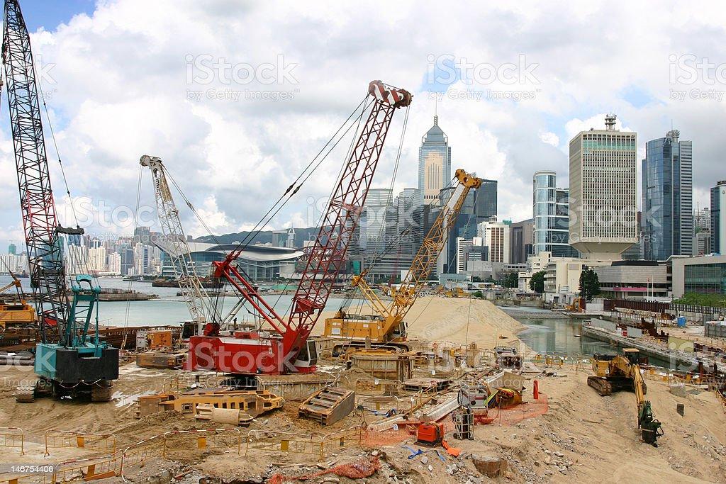 Land reclamation Hong Kong Island royalty-free stock photo