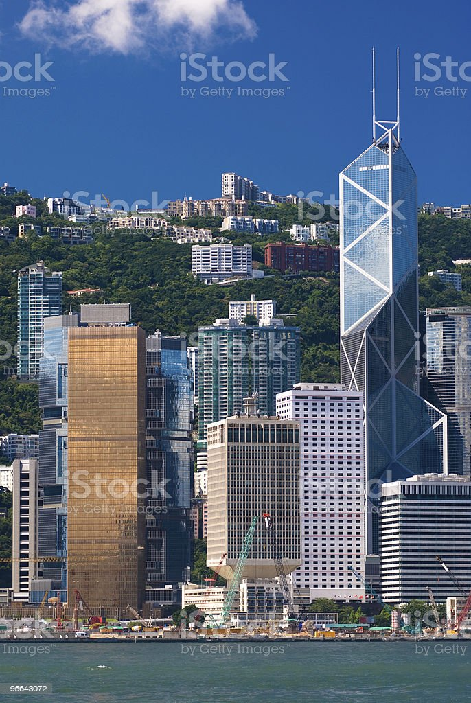 Land reclamation in Hong Kong stock photo