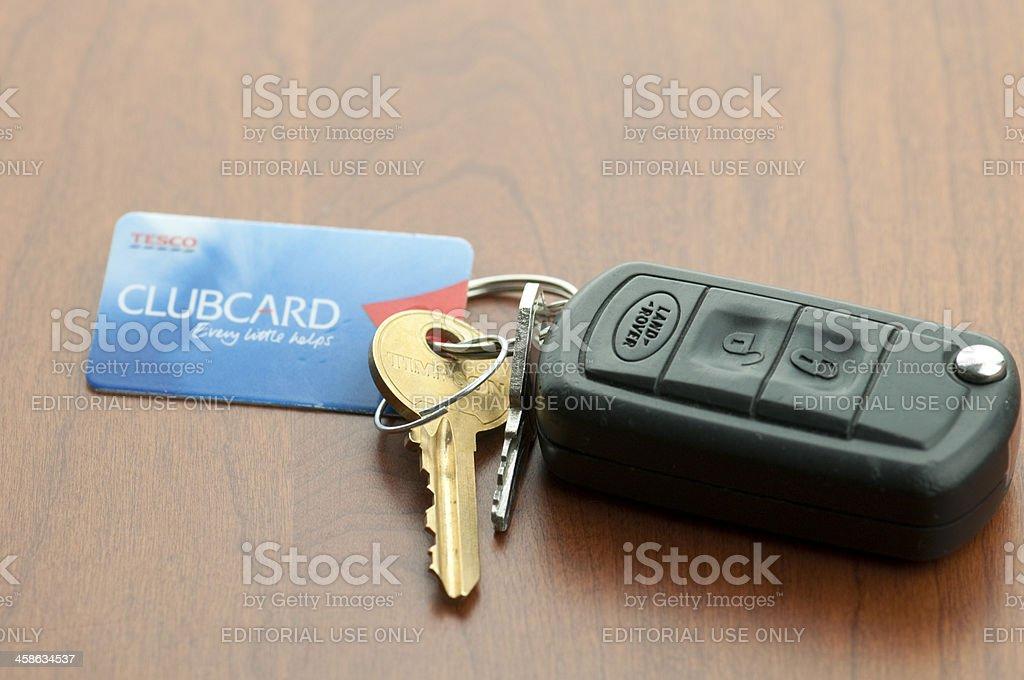 Land Rover Car Keys and Tesco Clubcard stock photo