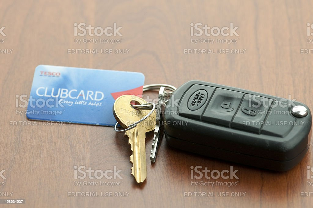 Land Rover Car Keys and Tesco Clubcard stock photo
