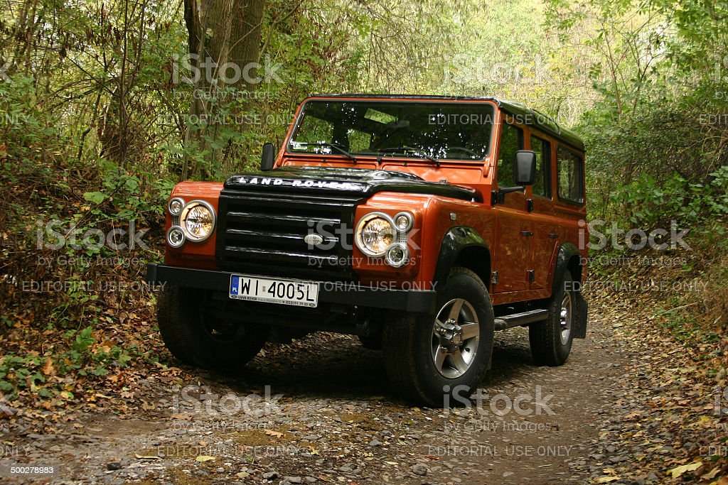 Land Rover Defender at the test drive stock photo