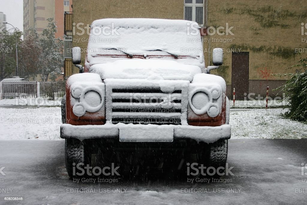 Land Rover Defender in winter scenery stock photo