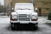 Land Rover Defender in winter scenery
