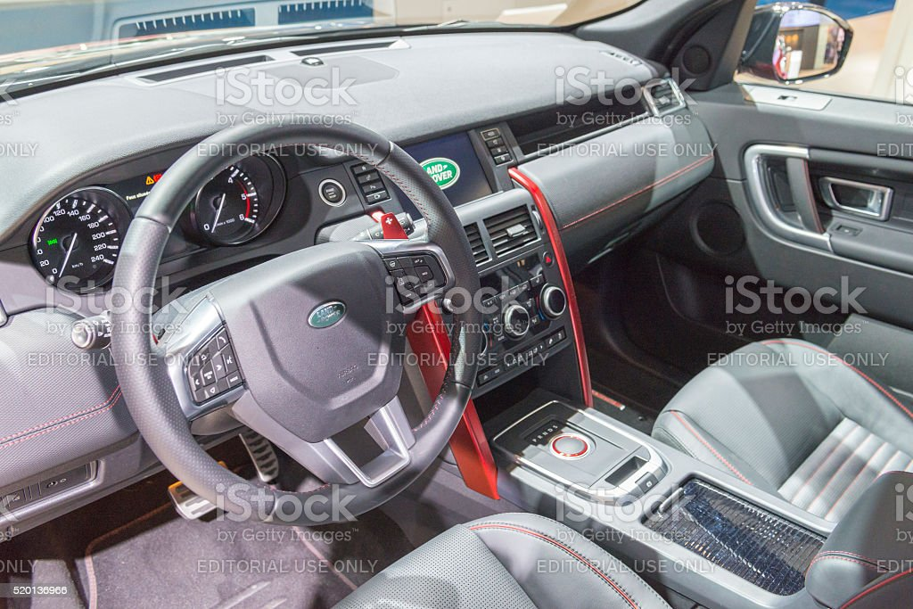 Land Rover Discovery Sport SUV interior stock photo