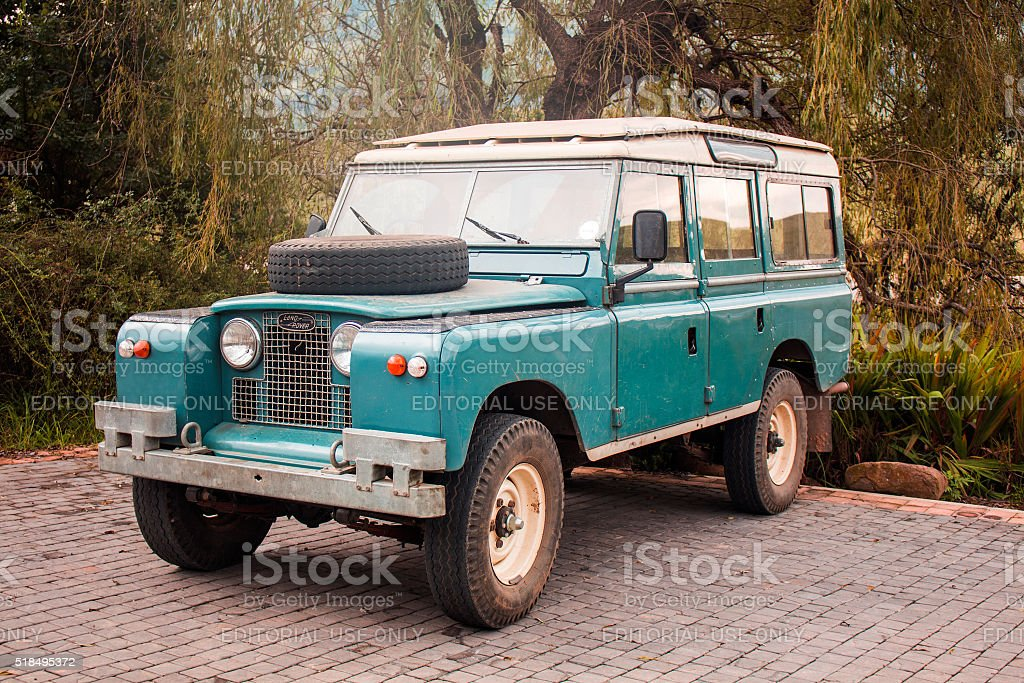 Land Rover old model 4x4 vehicle. Vintage car style. stock photo