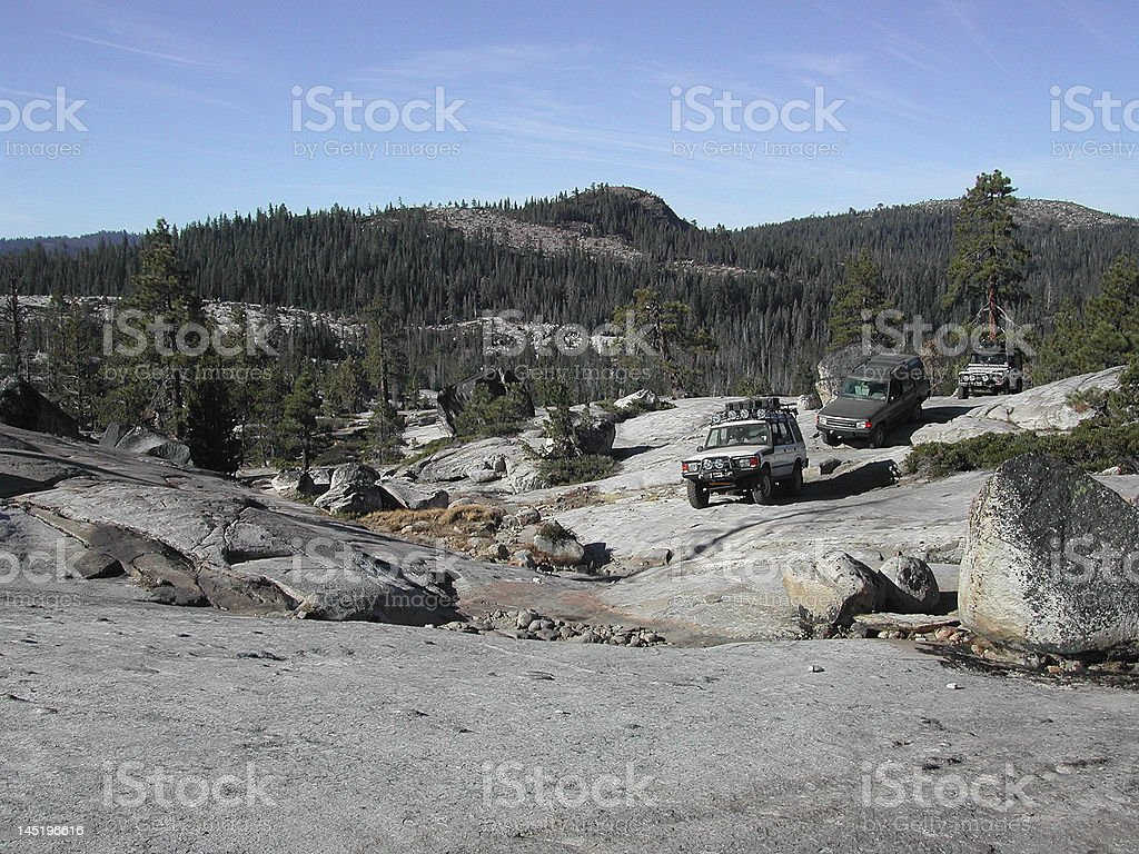 Land Rovers on the Rubicon Trail stock photo