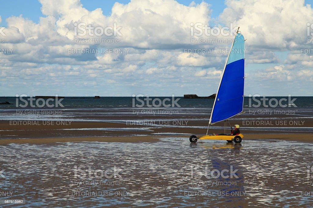 Land sailing on Gold Beach stock photo