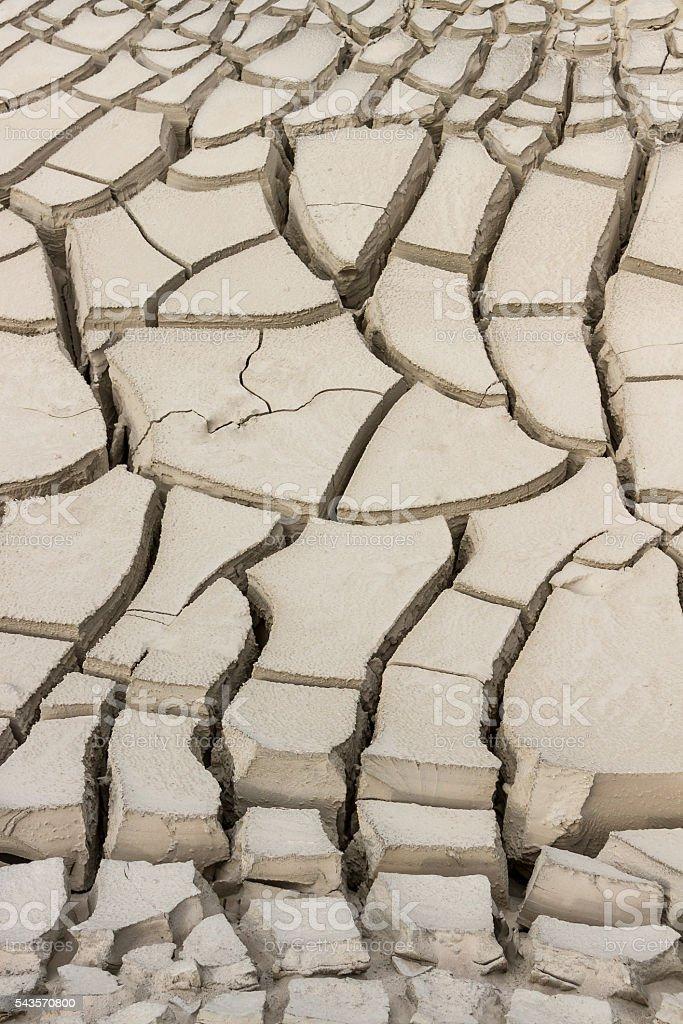 land sand soil deep cracks drought no water no plants stock photo