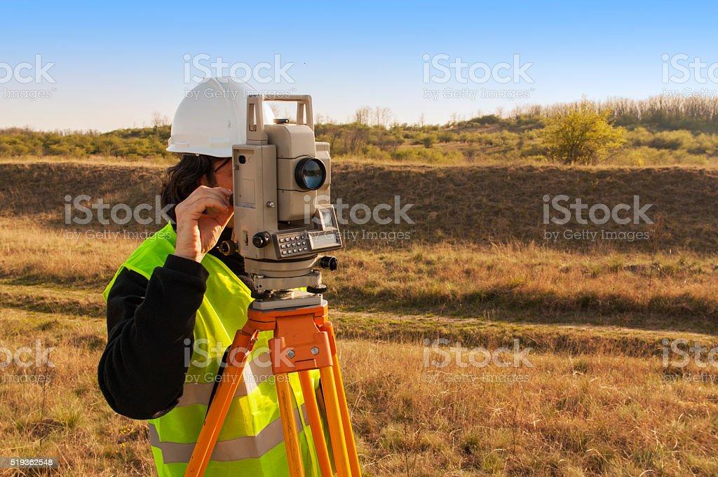 Land survey stock photo