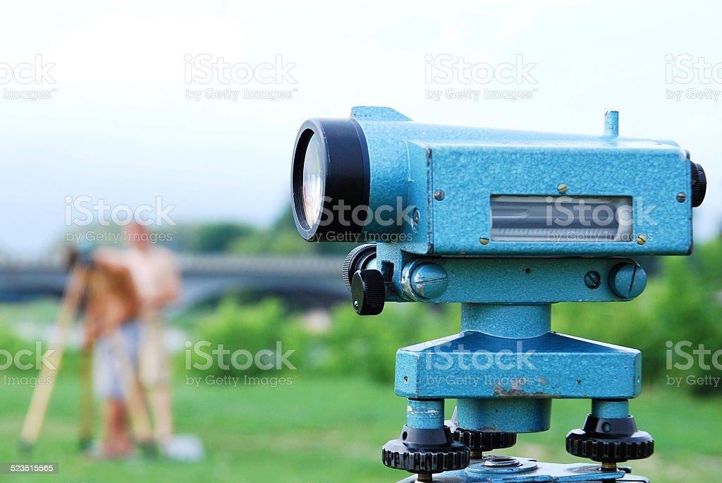 Land surveying instrument stock photo