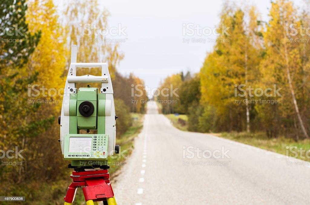 land surveying stock photo