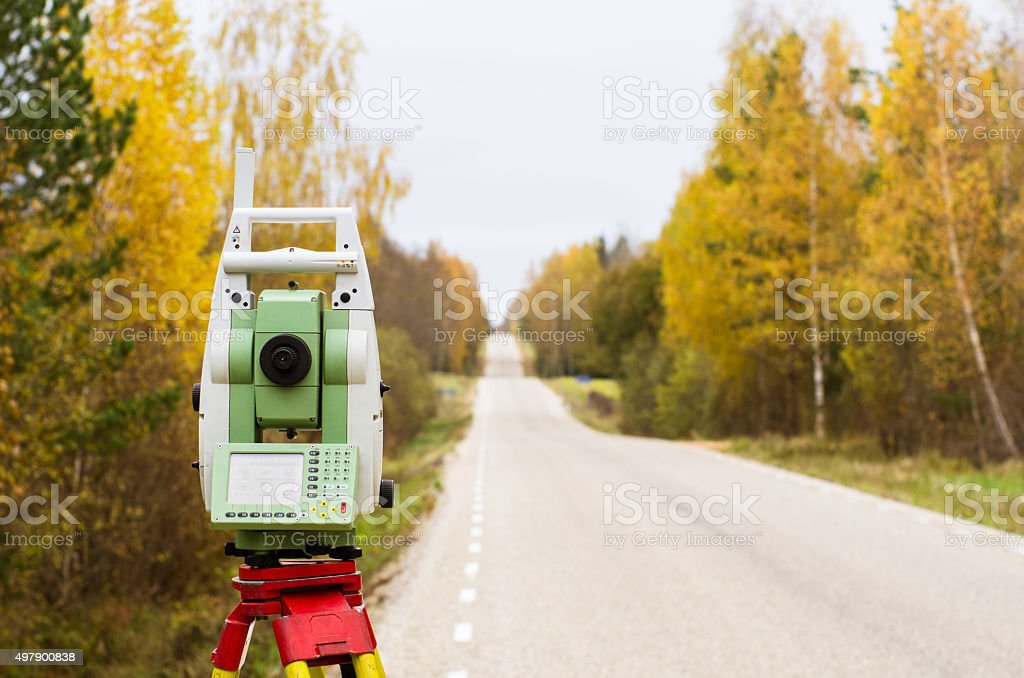 land surveying stock photo