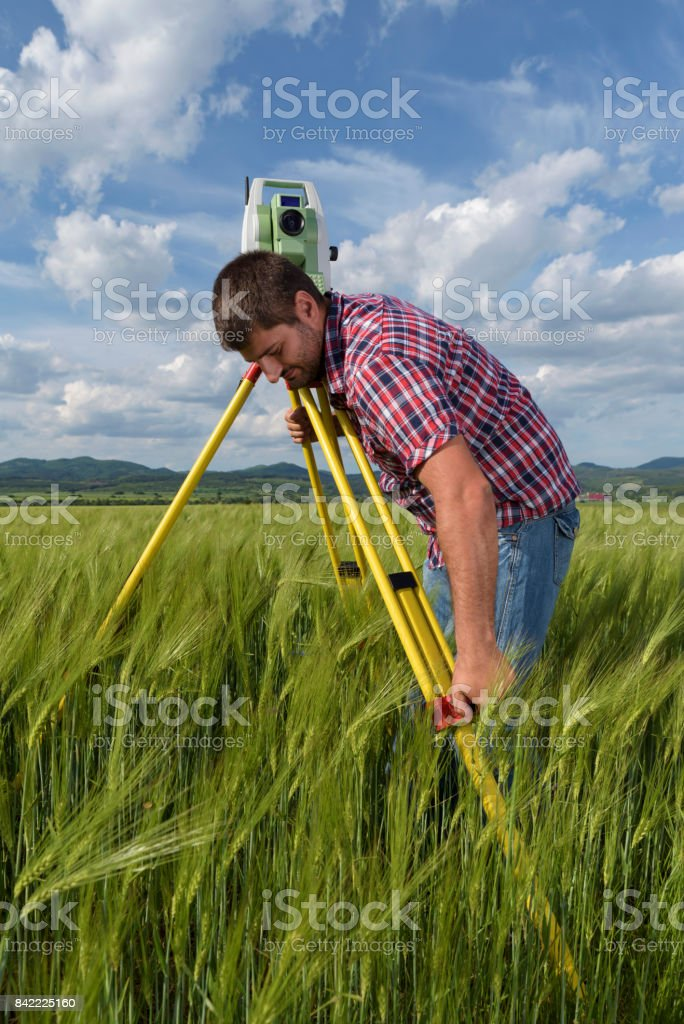 Land surveyor in agriculture field of wheat stock photo