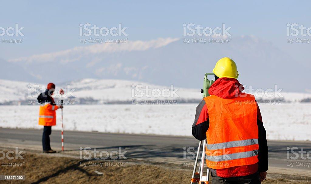 land surveyors stock photo