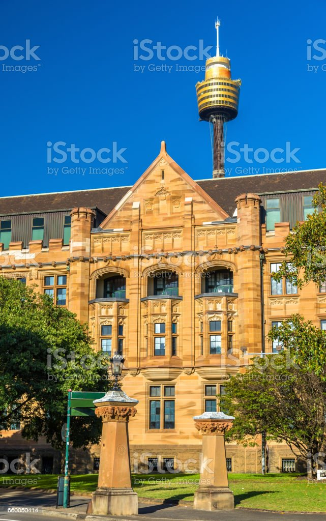 Land Titles Office, a sandstone Neo-Gothic building in Sydney stock photo