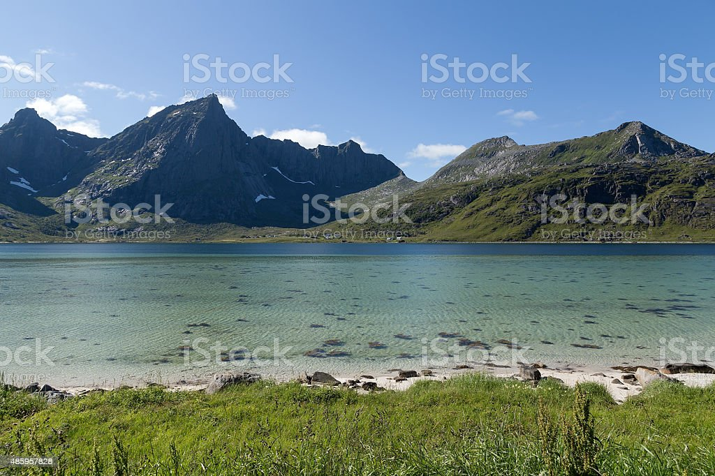 Land water and mountains royalty-free stock photo