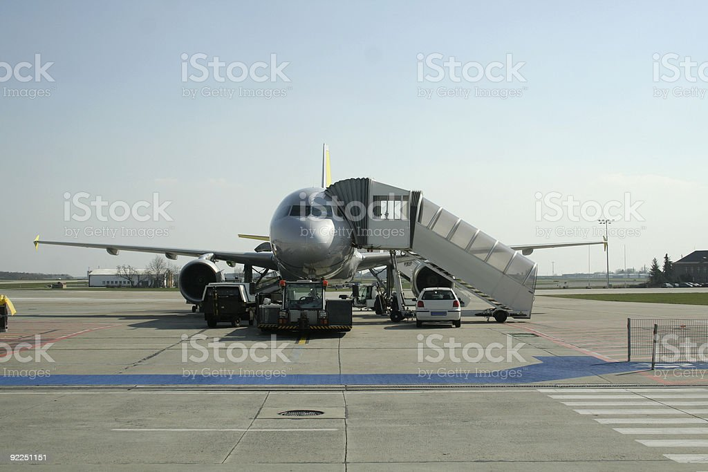 landed aircraft with side ladder royalty-free stock photo