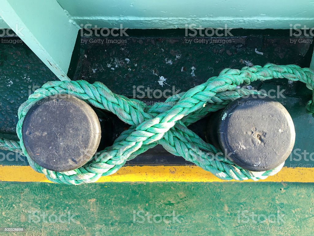 Landfast with rope on a boat deck stock photo
