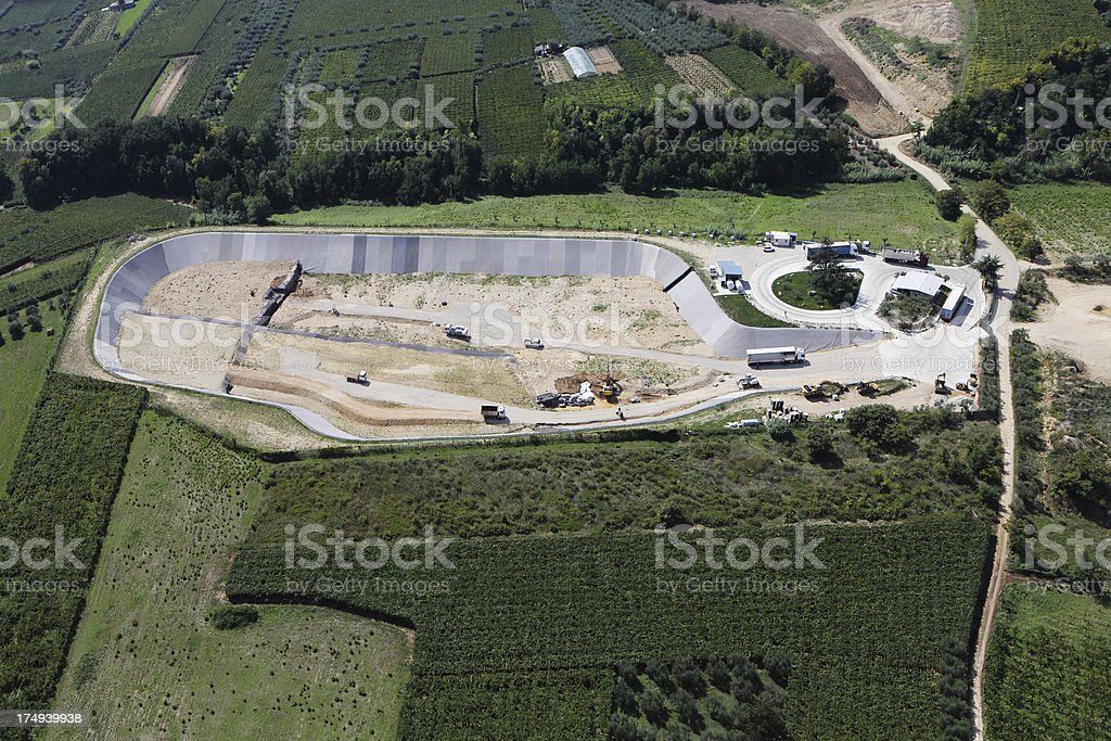 Landfill: aerial view stock photo