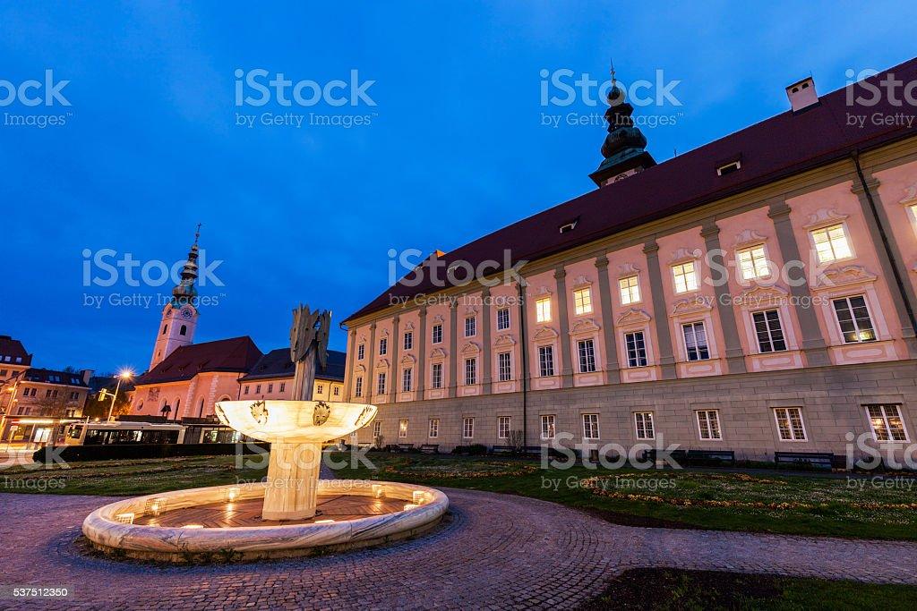 Landhaus and Heiligengeistkirche in Klagenfurt stock photo