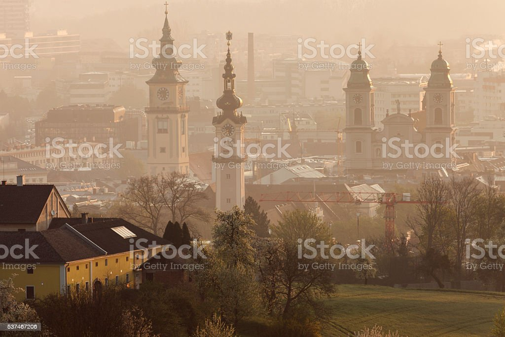 Landhaus, Old Cathedral and Stadtpfarrkirche in Linz stock photo