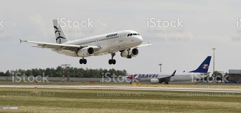 Landing A320 royalty-free stock photo