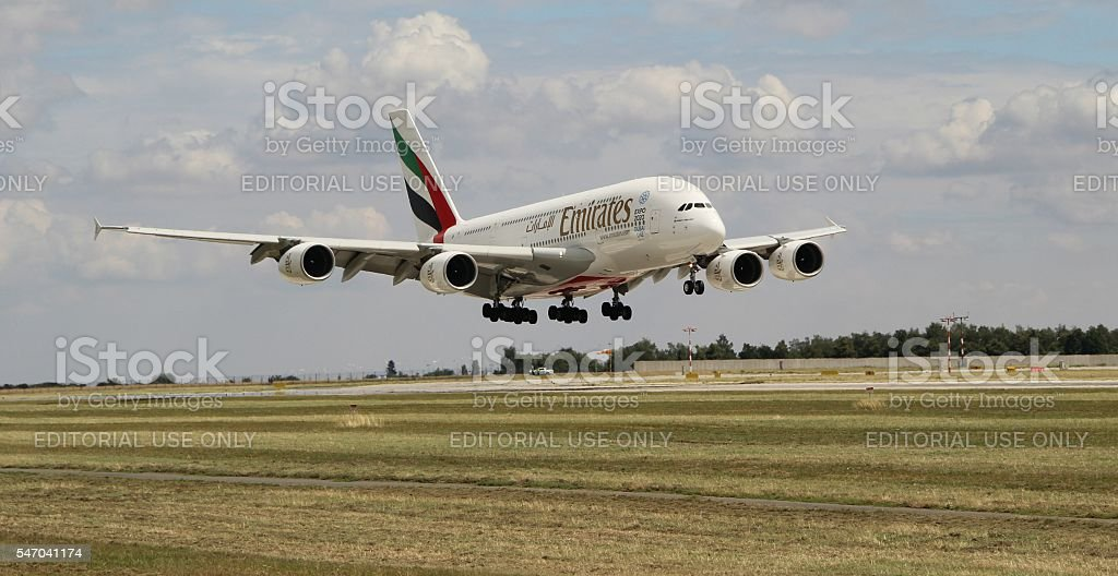 Landing A380 royalty-free stock photo