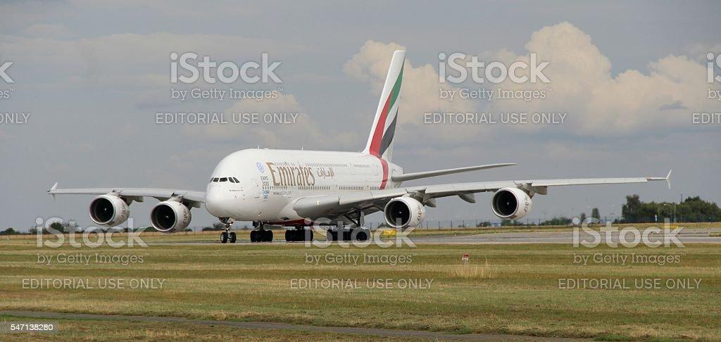 Landing A380 royalty-free stock photo