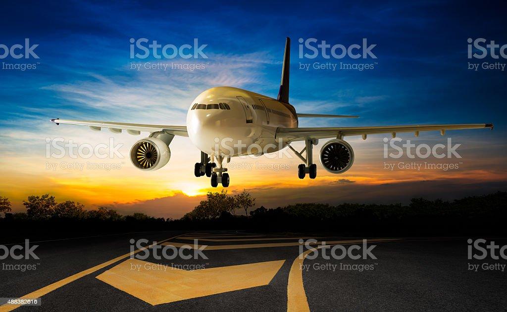 Landing aeroplane stock photo