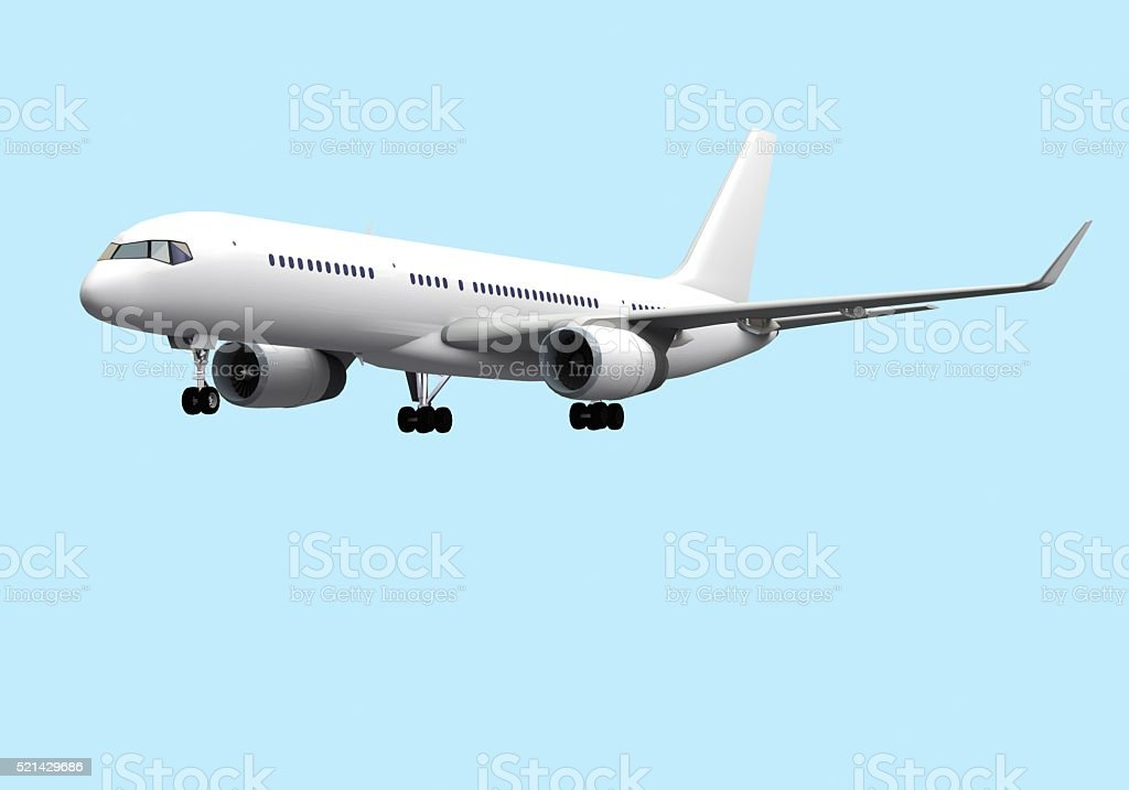 landing airplane side view on blue sky stock photo