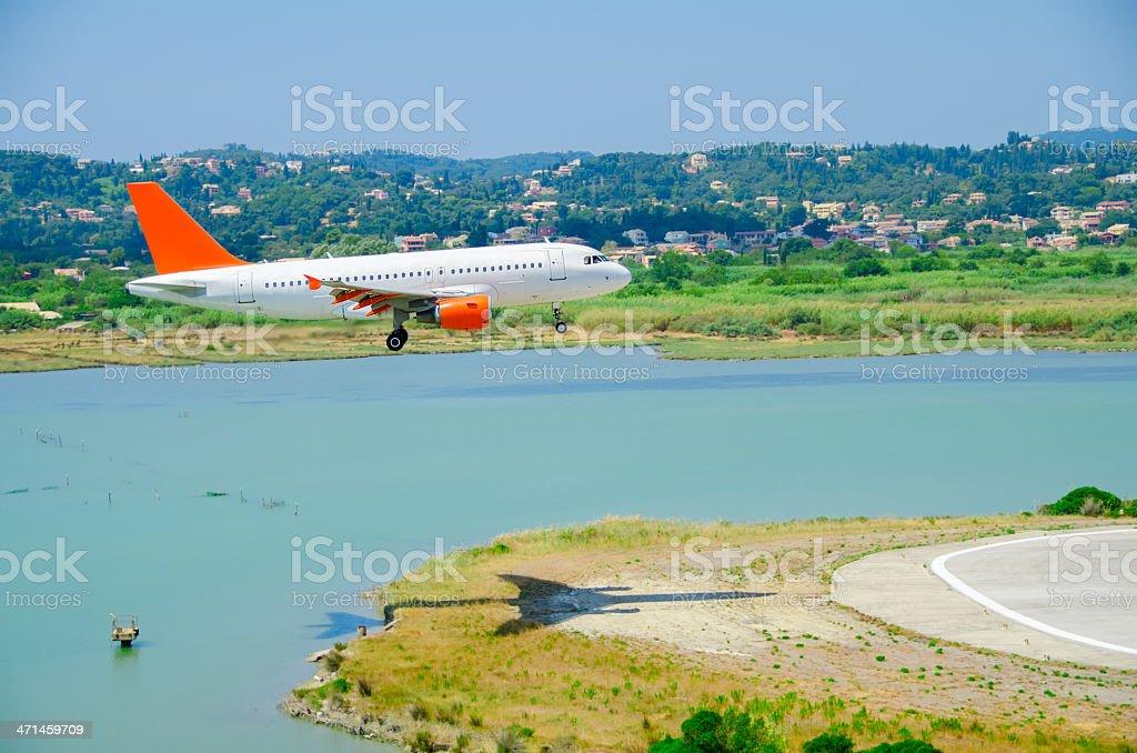 Landing at Corfu Airport stock photo