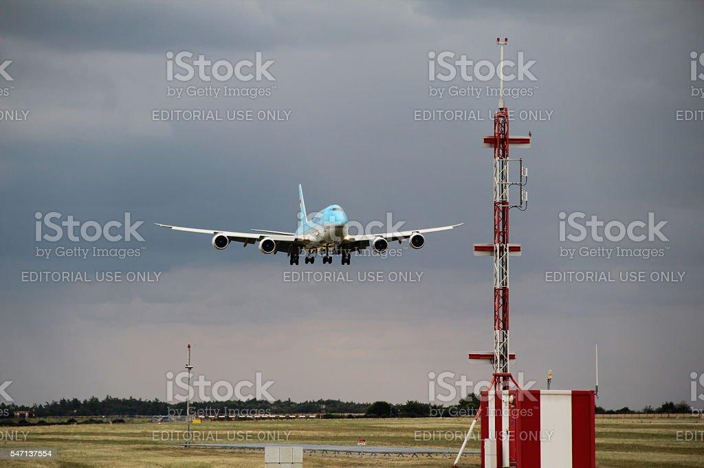 Landing Boeing 747 royalty-free stock photo