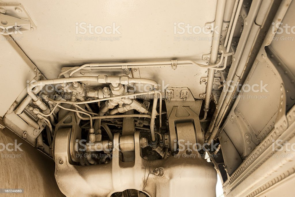 Landing Gear Hydraulics Under Jet Fighter royalty-free stock photo