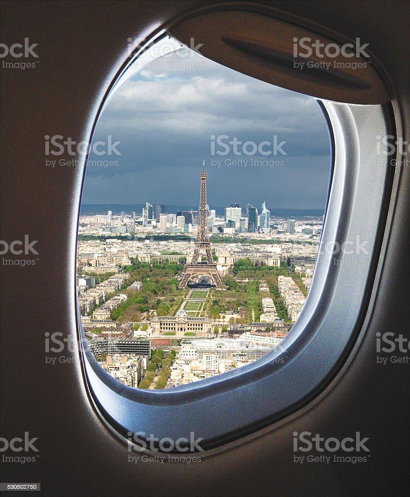 landing in paris stock photo