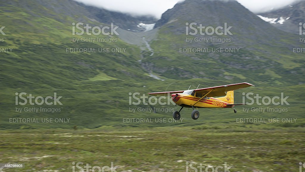 Landing in remote location stock photo