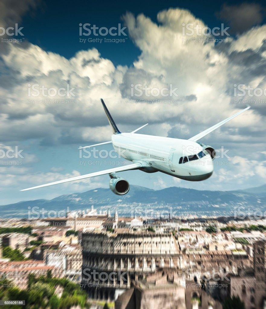 landing in Rome stock photo