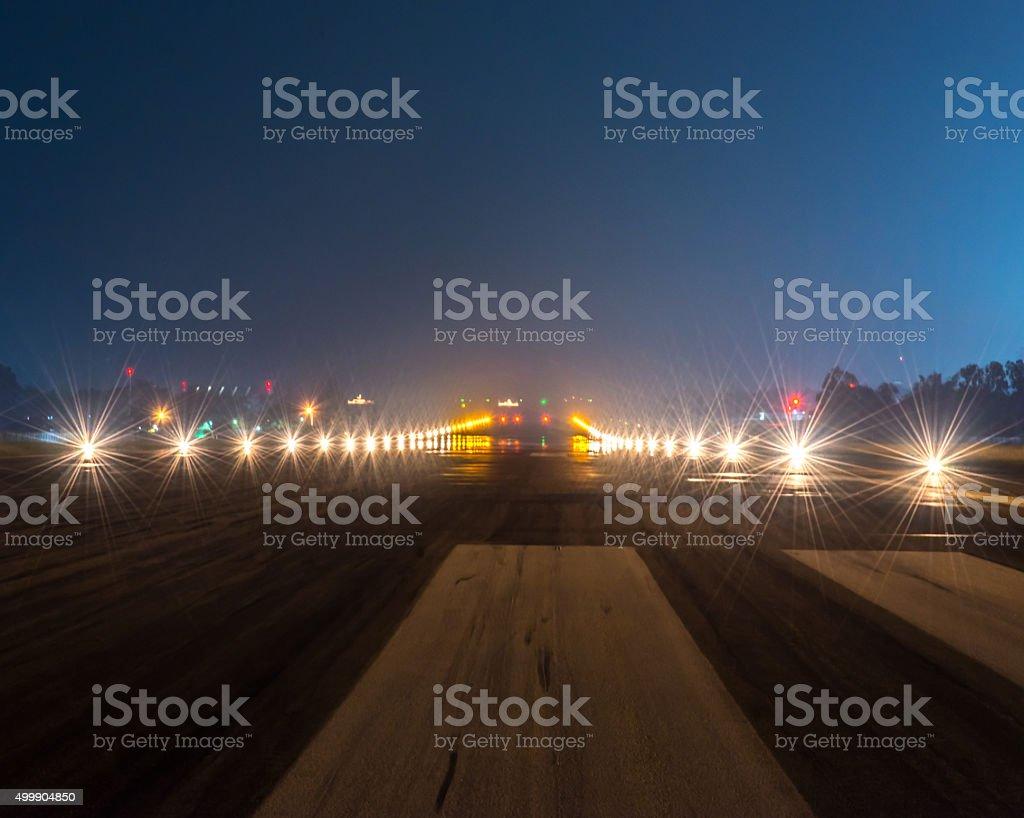 Landing lights at night closeup stock photo