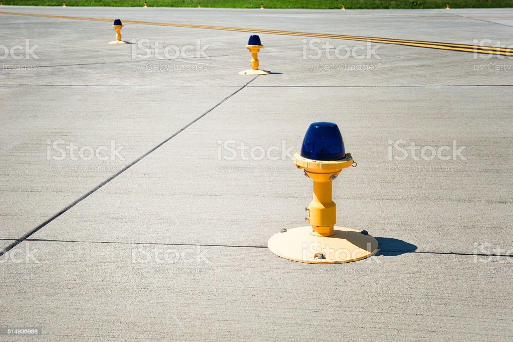 Landing lights on runway stock photo
