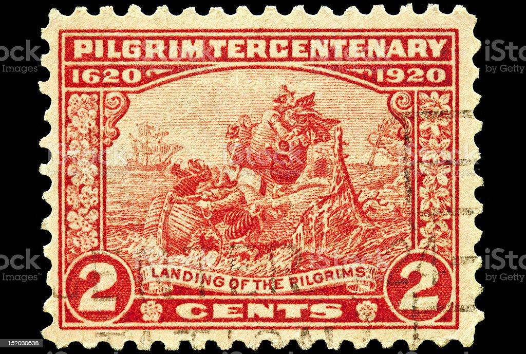 Landing of the Pilgrim Postal Issue stock photo