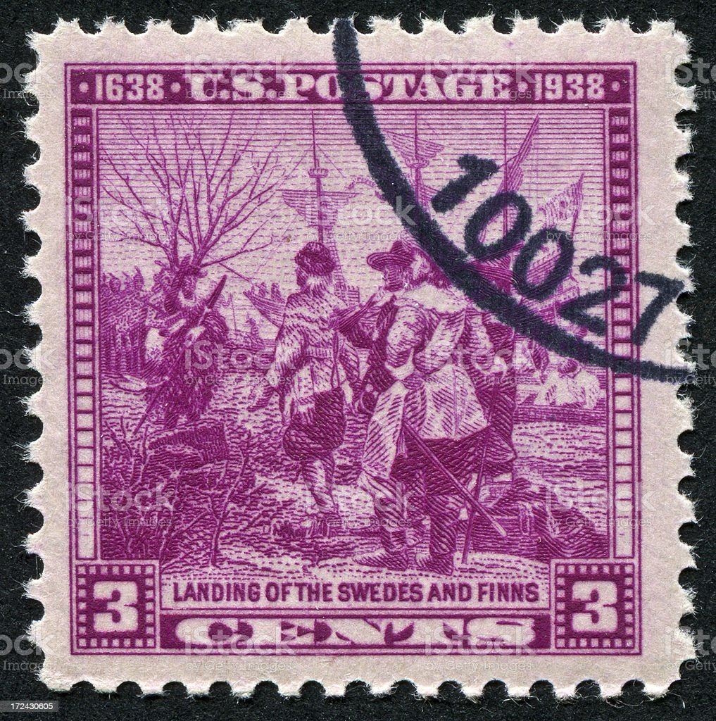 Landing Of The Swedes And Finns Stamp stock photo